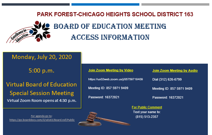 Board Meeting Special Session - July 20, 2020