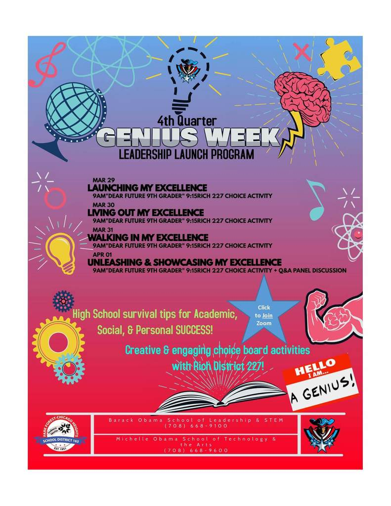 8th Grade Genius Week Info 3/29-4/1