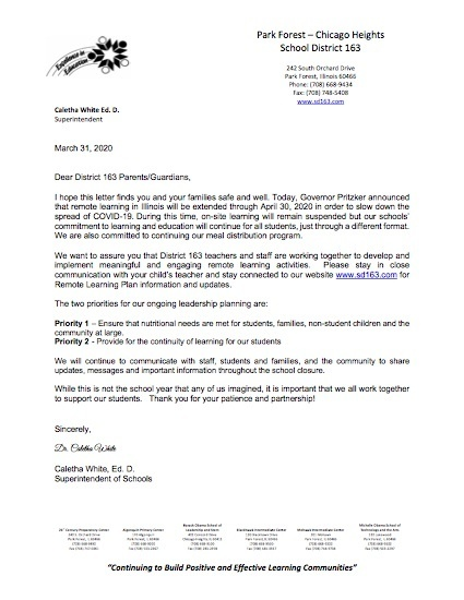 Parent Letter- March 31st